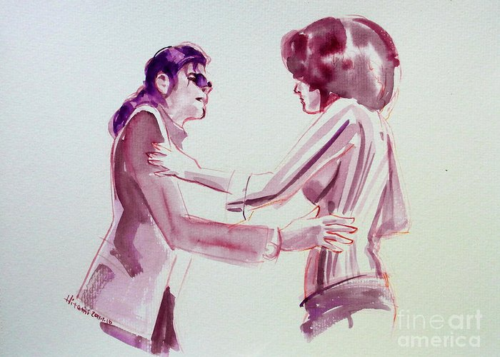 Michael Jackson Greeting Card featuring the painting Michael Jackson - Just Can't Stop Loving You by Hitomi Osanai