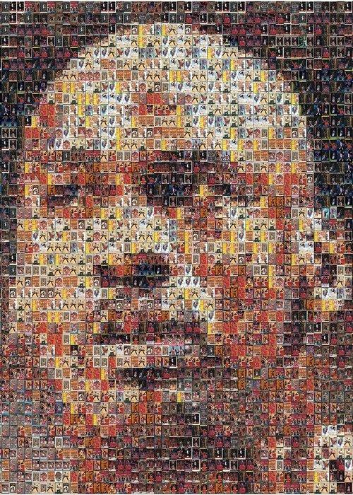 Michael Jordan Greeting Card featuring the photograph Michael Jordan Card Mosaic 3 by Paul Van Scott