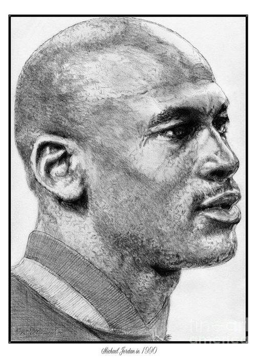 Michael Jordan Greeting Card featuring the drawing Michael Jordan In 1990 by J McCombie