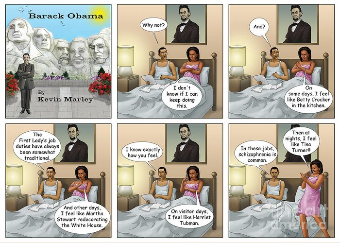 Barack Obama Greeting Card featuring the digital art Michelle's Crisis by Kevin Marley