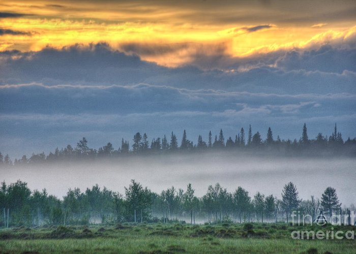 Hdr Greeting Card featuring the photograph Mid Summer Night's Fog by Heiko Koehrer-Wagner