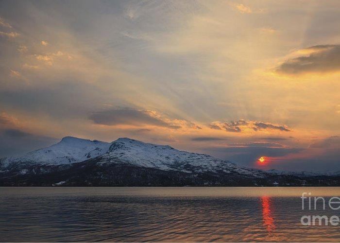 Midnight Sun Greeting Card featuring the photograph Midnight Sun Over Tjeldsundet Strait by Arild Heitmann