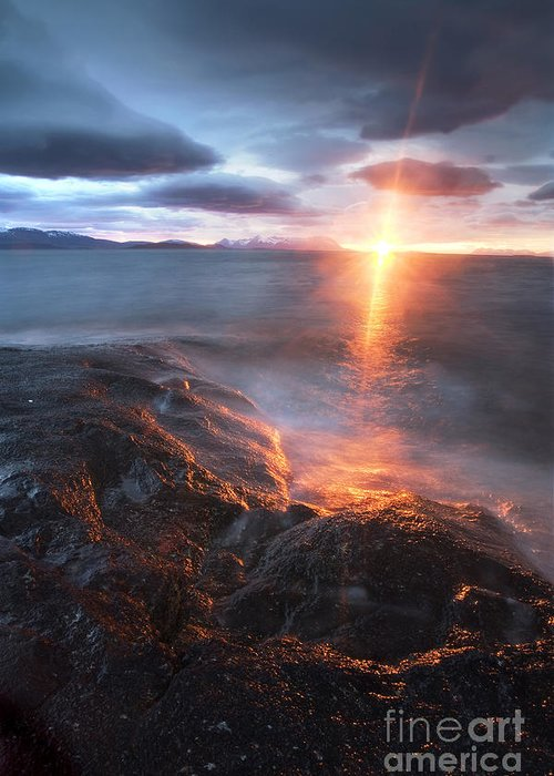 Bratteberget Greeting Card featuring the photograph Midnight Sun Over Vågsfjorden by Arild Heitmann