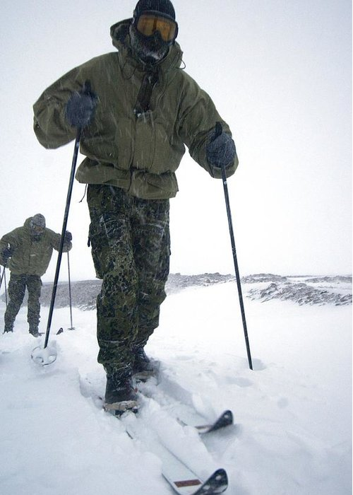 Ski Greeting Card featuring the photograph Military Arctic Survival Training by Louise Murray