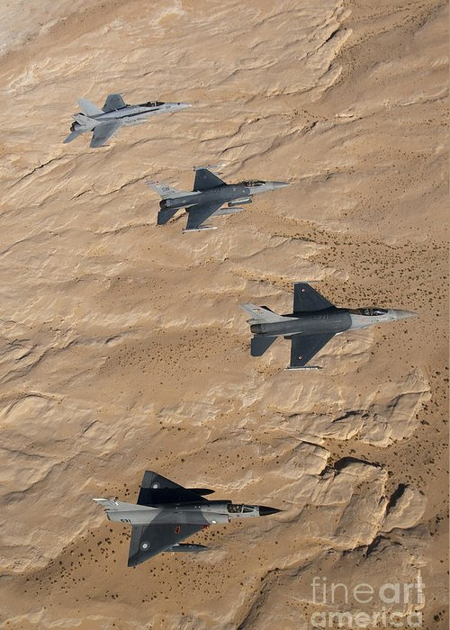 Jordan Greeting Card featuring the photograph Military Fighter Jets Fly In Formation by Stocktrek Images