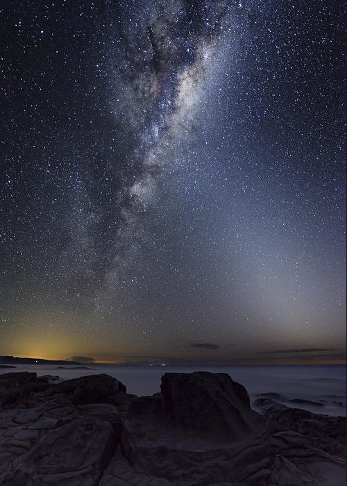 Milky Way Greeting Card featuring the photograph Milky Way Over Cape Otway, Australia by Alex Cherney, Terrastro.com