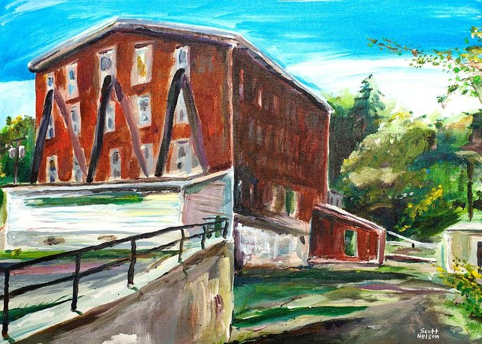 Mill Greeting Card featuring the painting Millbury Mill by Scott Nelson