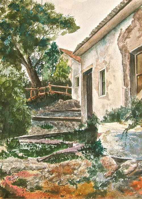 Greece Greeting Card featuring the painting Millstone Aria by Frank SantAgata