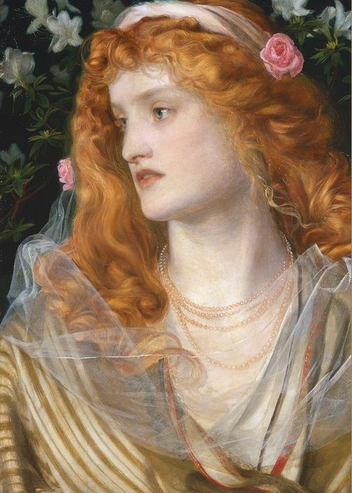 Pre-raphaelite; Victorian; Female; Veil; Auburn; Redhead; Red-haired; Heroine; The Tempest; Shakespeare; Literature Greeting Card featuring the painting Miranda by AFA Sandys