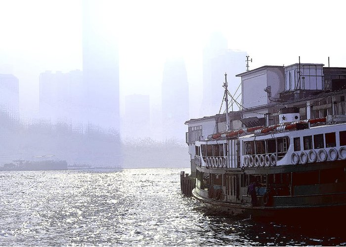 Mist Greeting Card featuring the photograph Mist Over Victoria Harbour by Enrique Rueda