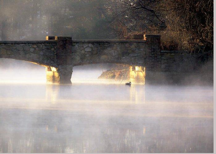 Sunrise Greeting Card featuring the photograph Misty Bridge Sunrise by Vicki Jauron