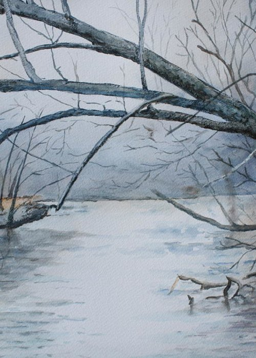 River Greeting Card featuring the painting Misty Morning On The Red River by Patsy Sharpe