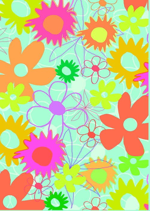 Louisa Greeting Card featuring the digital art Mixed Flowers by Louisa Knight
