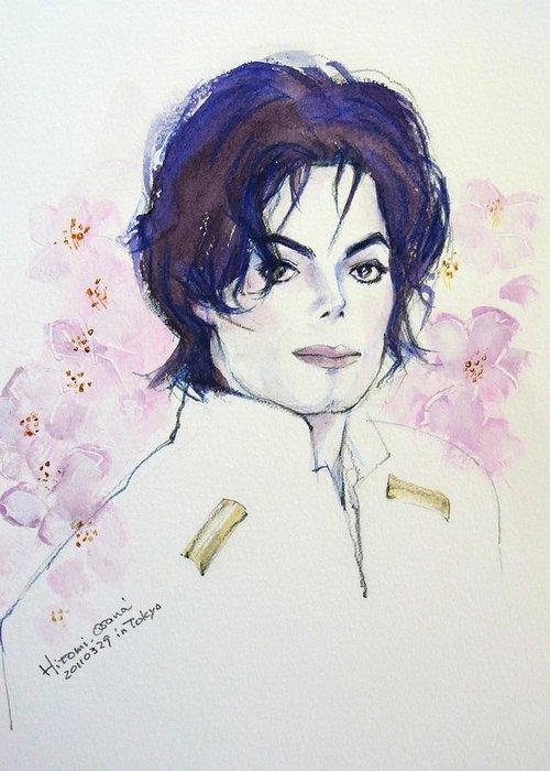Michael Jackson Greeting Card featuring the painting Mj In Sakura by Hitomi Osanai