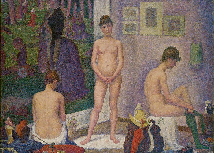 George Seurat Greeting Card featuring the painting Models by Georges Seurat