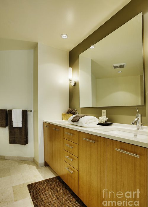 Affluence Greeting Card featuring the photograph Modern Bathroom Interior by Andersen Ross