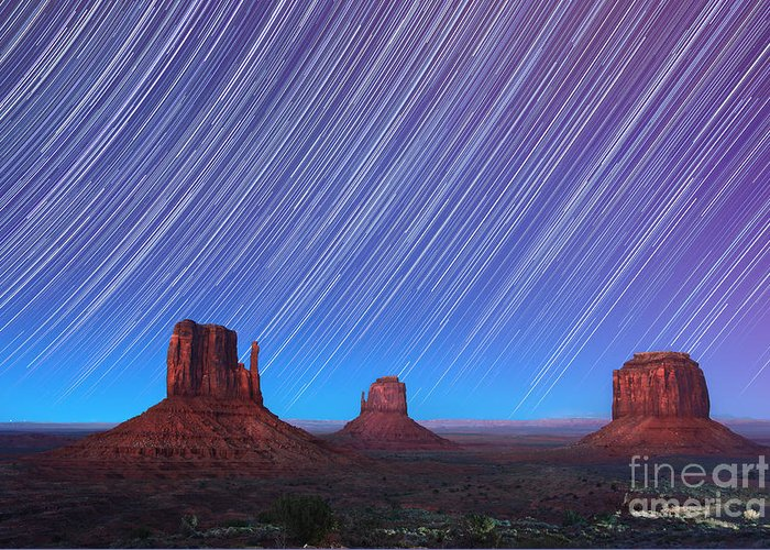 Abstract Greeting Card featuring the photograph Monument Valley Star Trails by Jane Rix