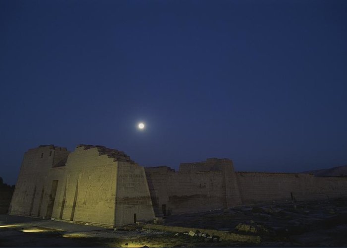 Moons Greeting Card featuring the photograph Moon Over Medinet Habu, The Temple by Kenneth Garrett