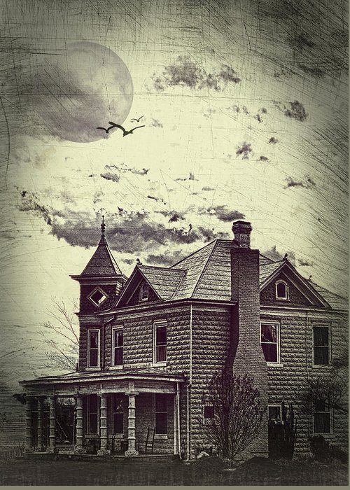 House Greeting Card featuring the photograph Moonlit Night by Kathy Jennings