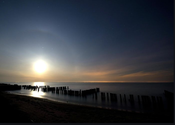 Moon Greeting Card featuring the photograph Moonrise At The Beach by Cale Best