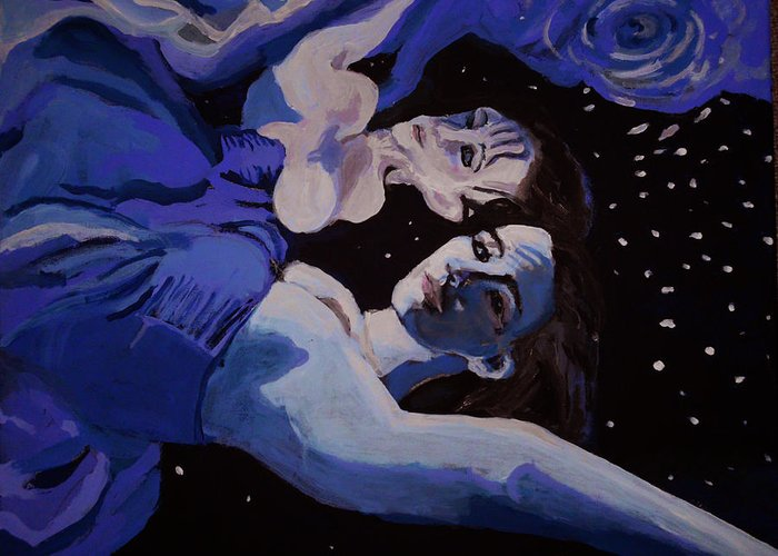 Girl Greeting Card featuring the painting Moonwaters by Adam Kissel