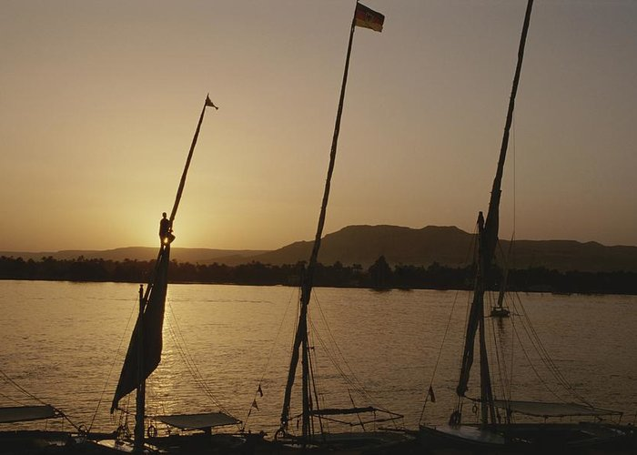 Boats Greeting Card featuring the photograph Moored Feluccas On The Nile River by Kenneth Garrett