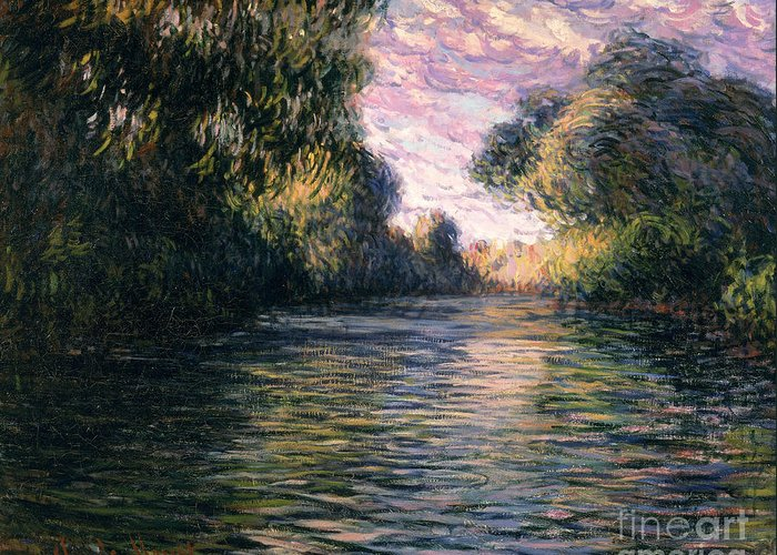 Impressionist;river;landscape;matin Greeting Card featuring the painting Morning On The Seine by Claude Monet