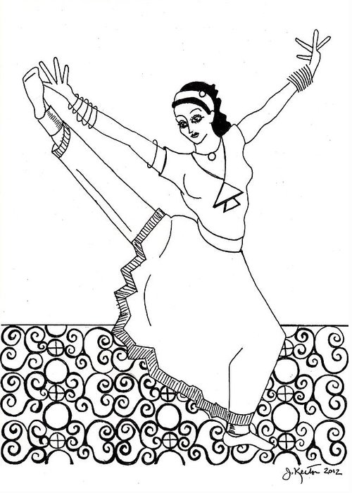 Moroccan Dancer Greeting Card featuring the drawing Moroccan Dancer by John Keaton