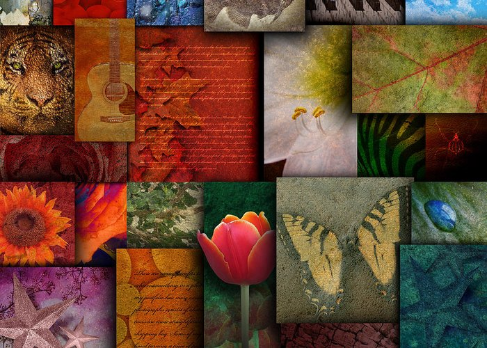 Abstract Greeting Card featuring the photograph Mosaic Earth Tone Nature Rough Patterns by Angela Waye