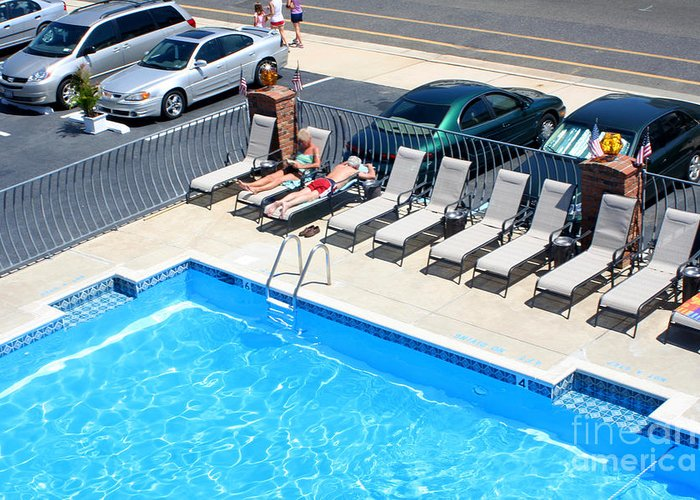 Motel Greeting Card featuring the photograph Motel Pool And Surroundings by Susan Stevenson
