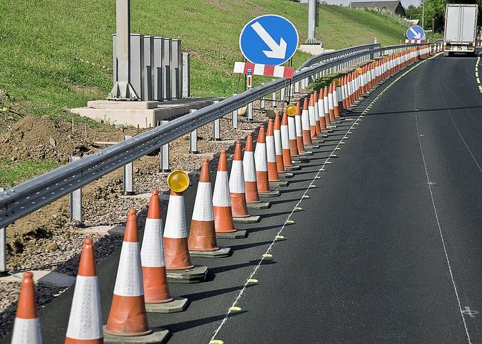 Equipment Greeting Card featuring the photograph Motorway Traffic Cones by Linda Wright