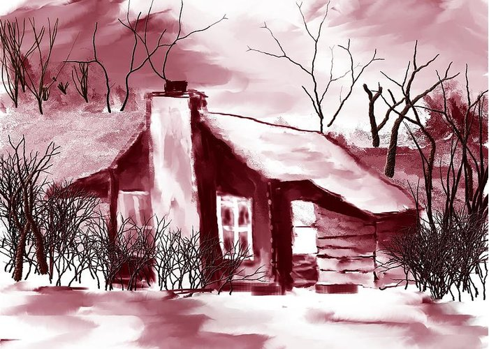 Country Cabin Greeting Card featuring the digital art Mountain Cabin by David Lane