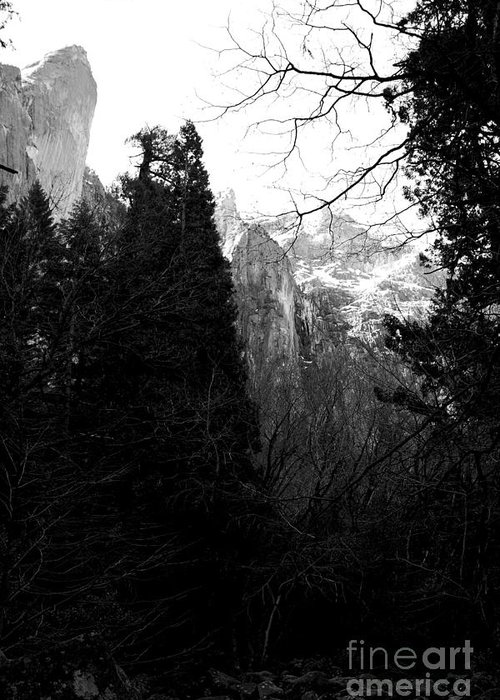 Black And White Greeting Card featuring the photograph Mountains Of Yosemite . 7d6214 . Black And White by Wingsdomain Art and Photography