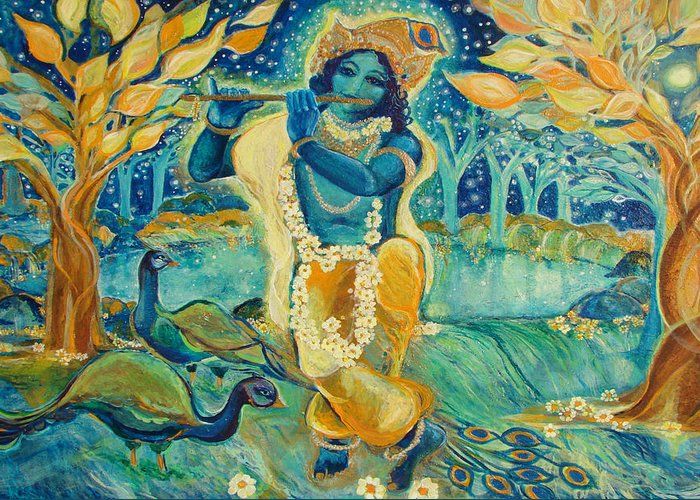 Krishna Greeting Card featuring the painting My Krishna Is Blue by Ashleigh Dyan Bayer