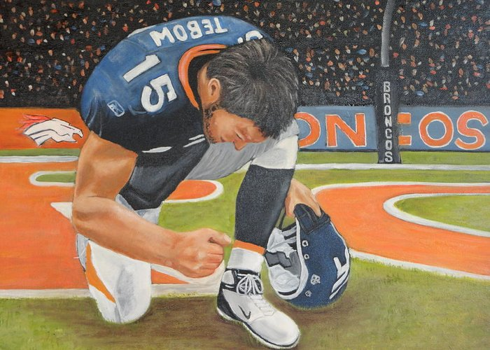 Tim Tebow Greeting Card featuring the painting My Man Tebow by Lynette Brown