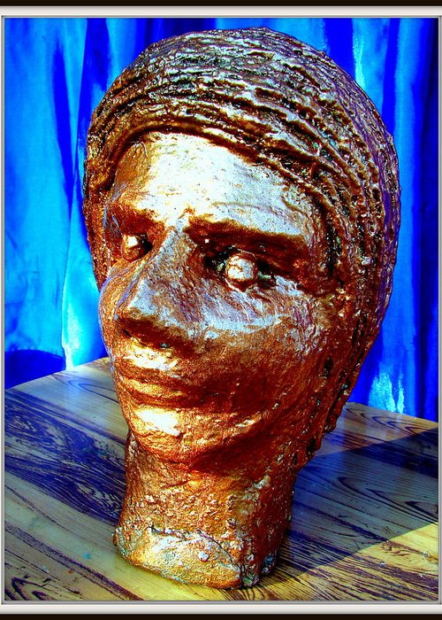 Sculptures Greeting Card featuring the sculpture My Model Face by Anand Swaroop Manchiraju