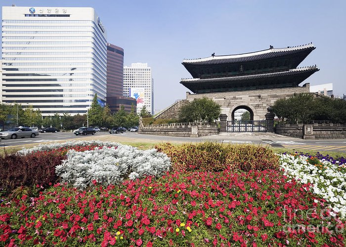 Ancient Greeting Card featuring the photograph Namdaemun Gate With Flowers In Foreground by Jeremy Woodhouse