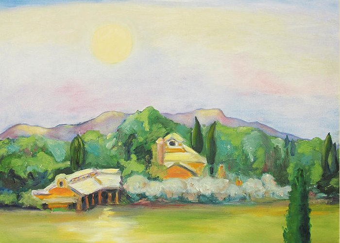 Nappa County Moon Greeting Card featuring the painting Napa Moon by Barbara Anna Knauf