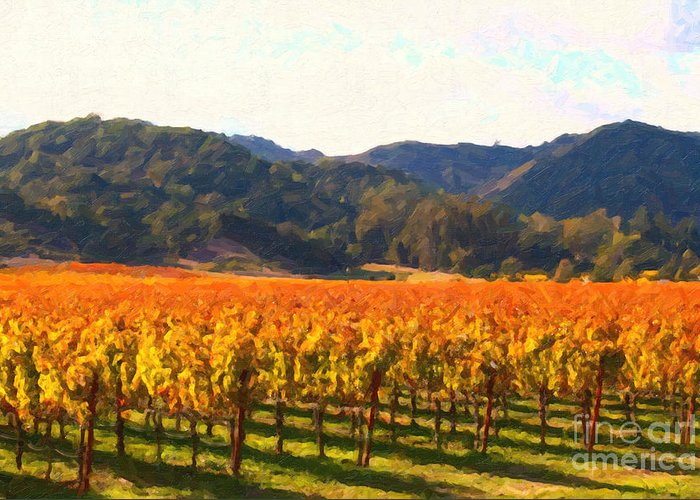 Landscape Greeting Card featuring the photograph Napa Valley Vineyard In Autumn Colors by Wingsdomain Art and Photography