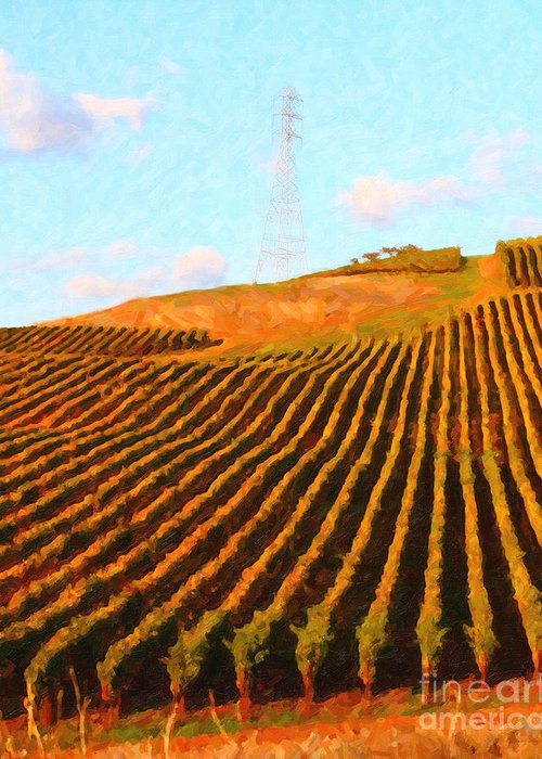 Landscape Greeting Card featuring the photograph Napa Valley Vineyard . Portrait Cut by Wingsdomain Art and Photography
