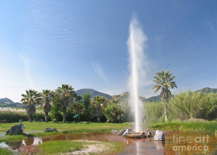 Blue Sky Greeting Card featuring the photograph Natural Geyser by Jaak Nilson