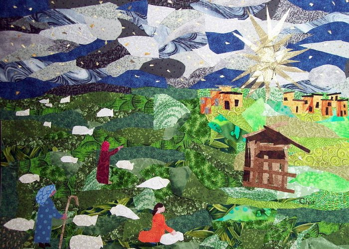 Fabric Greeting Card featuring the tapestry - textile 'neath The Brightest Star by Charlene White