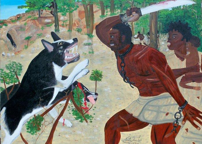 Nicole Jean-louis-neg Mawon Haiti 1791 Greeting Card featuring the painting Neg Mawon Haiti 1791 by Nicole Jean-Louis