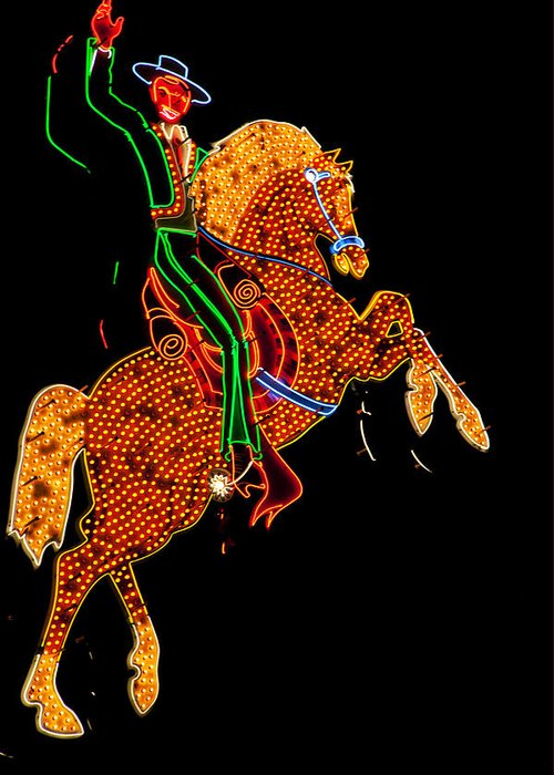 Cowboy Greeting Card featuring the photograph Neon Cowboy Las Vegas by Garry Gay