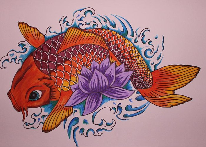 Koi Fish Greeting Card featuring the painting New Beginnings by Kat Starr