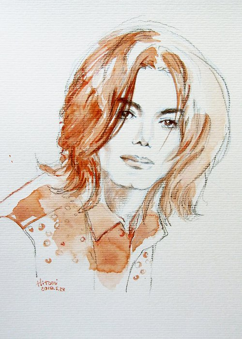 Michael Jackson Greeting Card featuring the painting New Inner Beauty by Hitomi Osanai