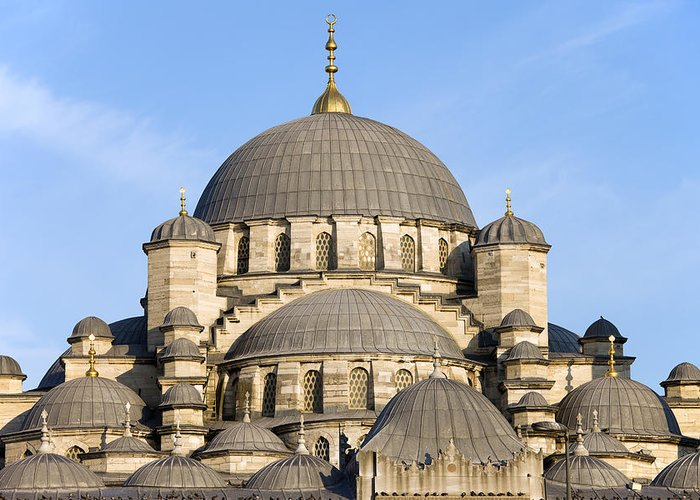 Mosque Greeting Card featuring the photograph New Mosque In Istanbul by Artur Bogacki