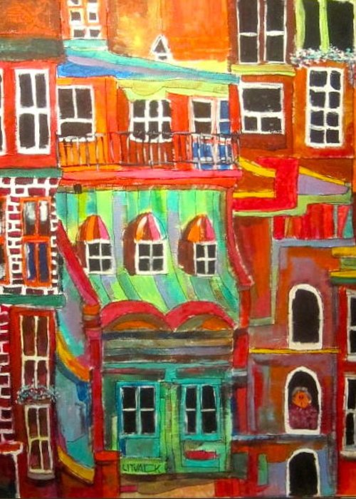 New York City Greeting Card featuring the painting New York Tenement 2 by Michael Litvack