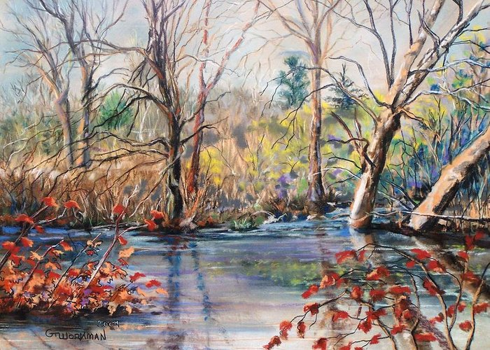 Landscape Greeting Card featuring the pastel Nezinscot Fall by Geoffrey Workman
