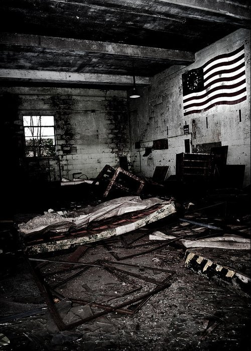 Flag Greeting Card featuring the photograph Nike Base by Dom Manfredo